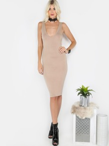 V-Neck Slinky Midi Dress COCO