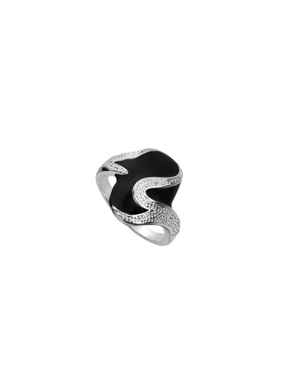 Silver Plated Black Drop Oil Ring