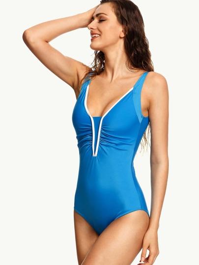 Blue Contrast Trim Shirred One Piece Swimwear