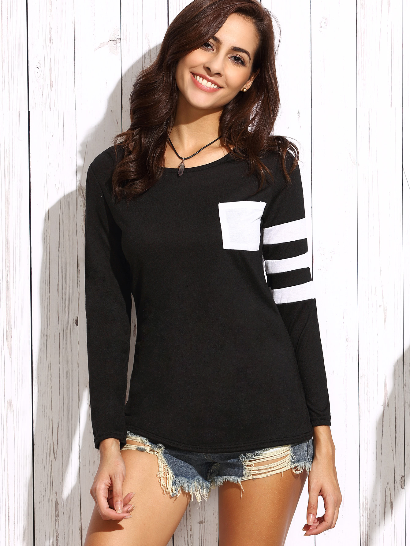 Black Asymmetric Striped Sleeve T-shirt With Pocket