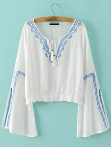 White Tie Neck Bell Sleeve Embroidery Blouse