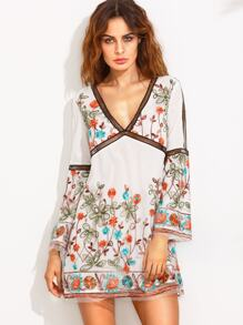 Multicolor Bell Sleeve V Neck Embroidered Dress
