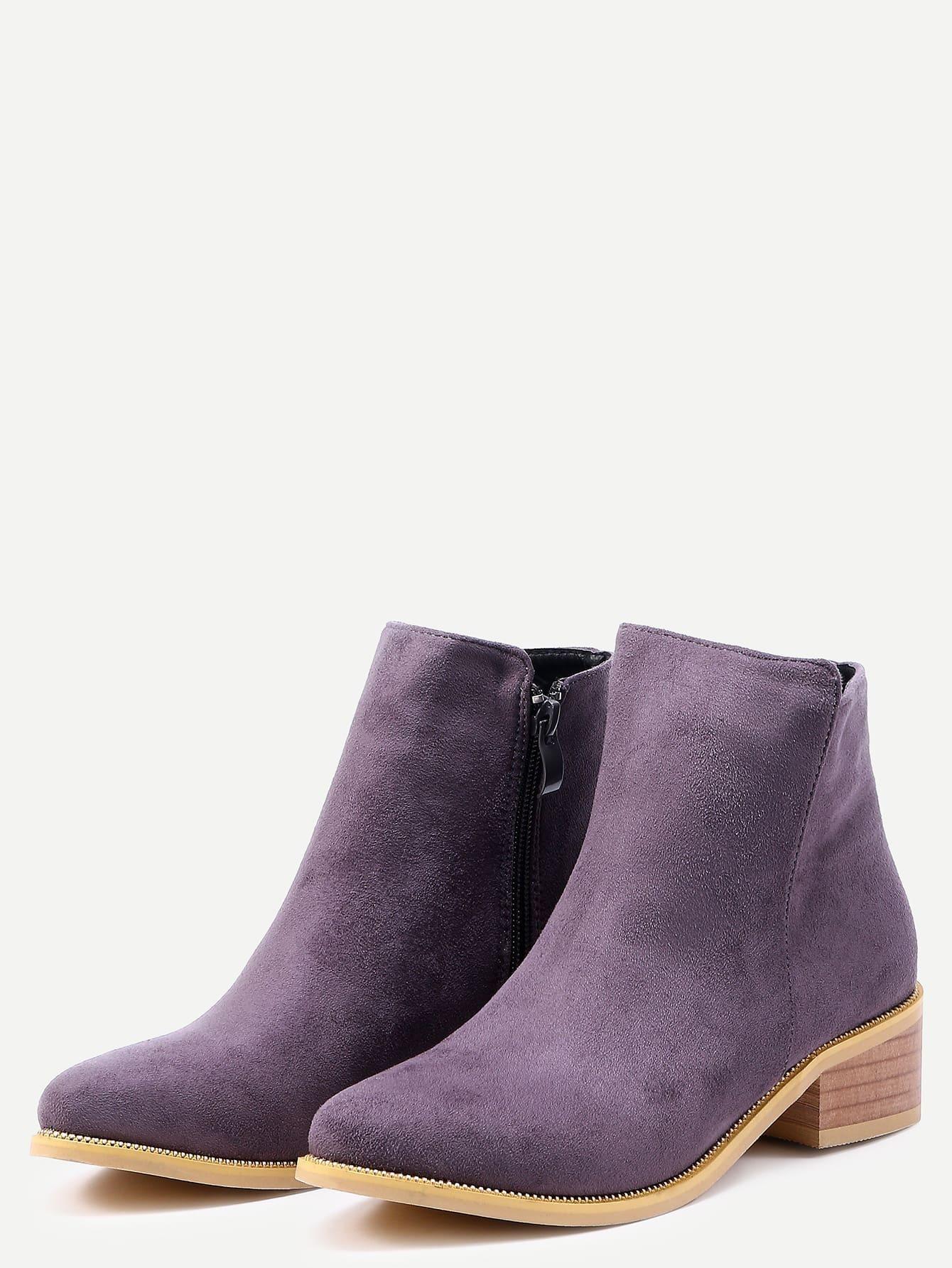 grey suede chunky heel boots shein sheinside