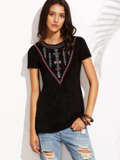 Black Embroidery Key-hole Back Blouse