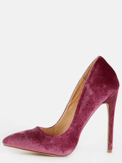 Velvet Stiletto Pointed Toe Pumps MAUVE