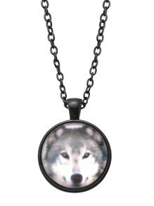 Black Wolf Print Glass Pendant Necklace
