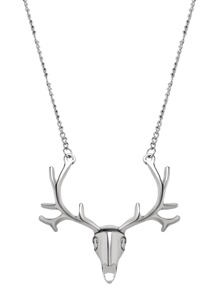 Silver Deer Head Statement Necklace