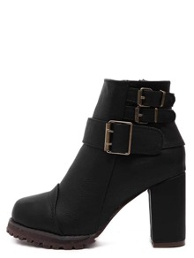 Black Buckle Strap Chunky Heels Boots
