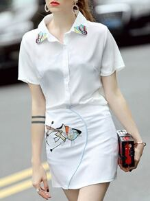 White Lapel Fish Embroidered Top With Skirt