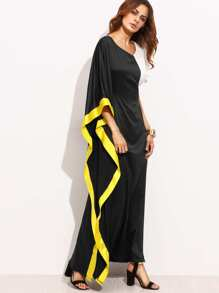 Multicolor V Neck Asymmetrical Maxi Dress