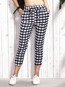 Black Checkerboard Self Tie Crop Skinny Pants