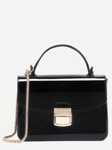Black Pushlock Closure Plastic Handbag With Chain