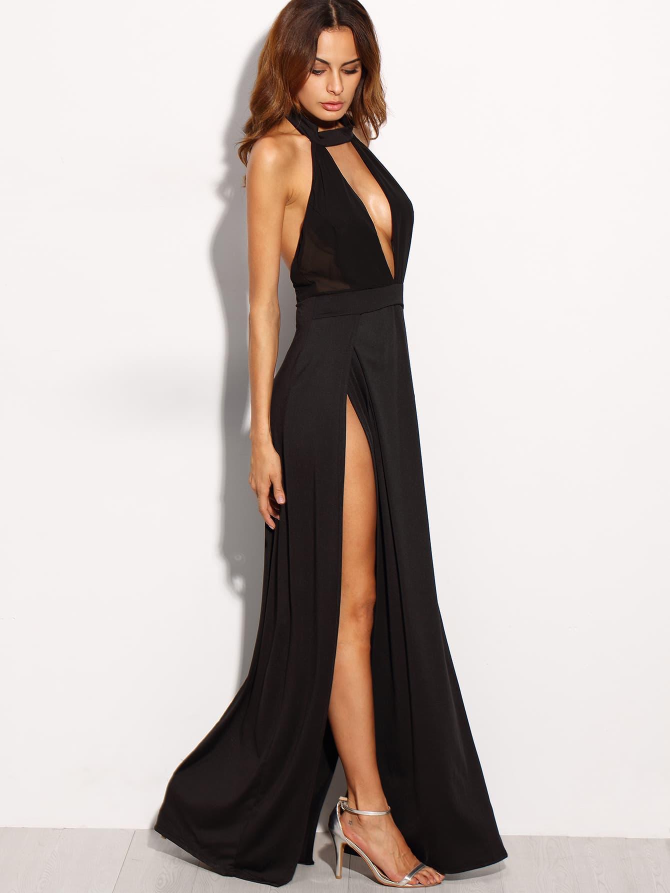 deep plunge neck backless high slit dress shein sheinside. Black Bedroom Furniture Sets. Home Design Ideas
