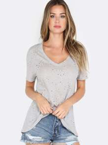 Relaxed Deep V Neck Tee HEATHER GREY