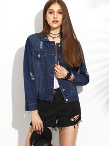 Dark Blue Lapel Button Ripped Jacket