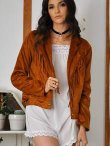 Brown Long Sleeve Tassel Jacket