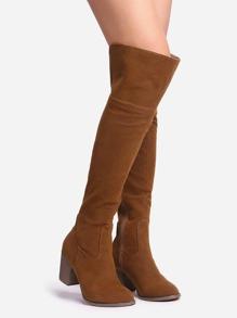 Botas suede encima de la rodilla cremallera - marrón