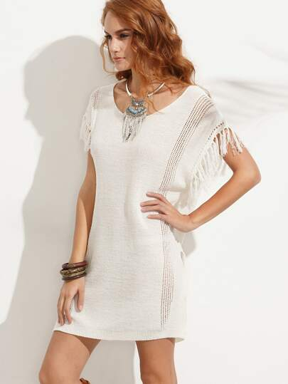 Beige Fringe Trim Knitted Split Dress