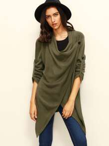Army Green Button Asymmetrical Long Sleeve Knitted Outerwear