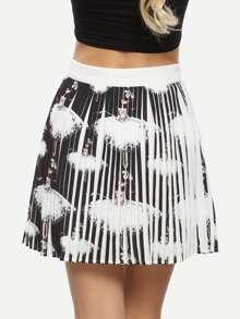 Multicolor Print Pleated Skirt
