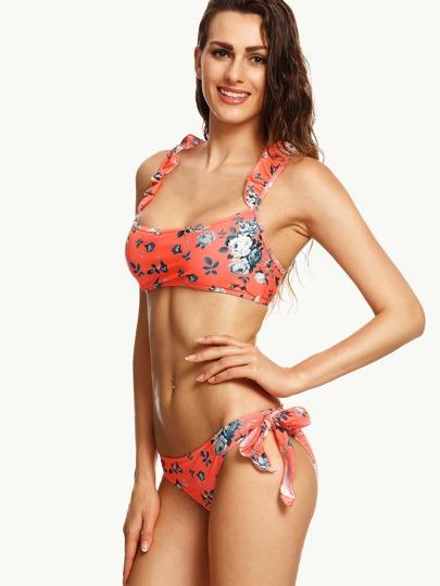 Orange Rose Print Ruffle Strap Side Tie Bikini Set