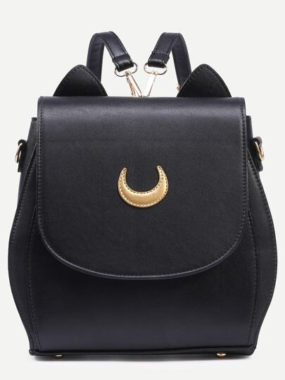 Black Crescent Patch Flap Backpack