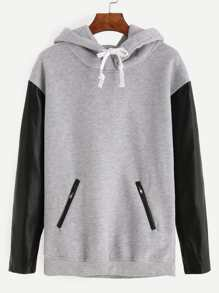 Grey Zipper Pockets PU Sleeve Hooded Sweatshirt