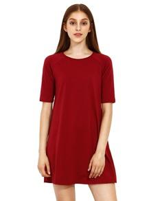 Бургундия вокруг шеи дюйма Половина рукава Свободные платья