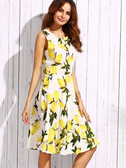 White Lemon Print Tie Back A Line Dress