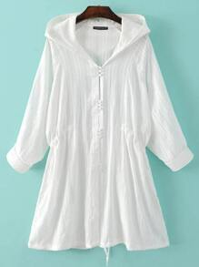 White Button Plain Outerwear With Hooded
