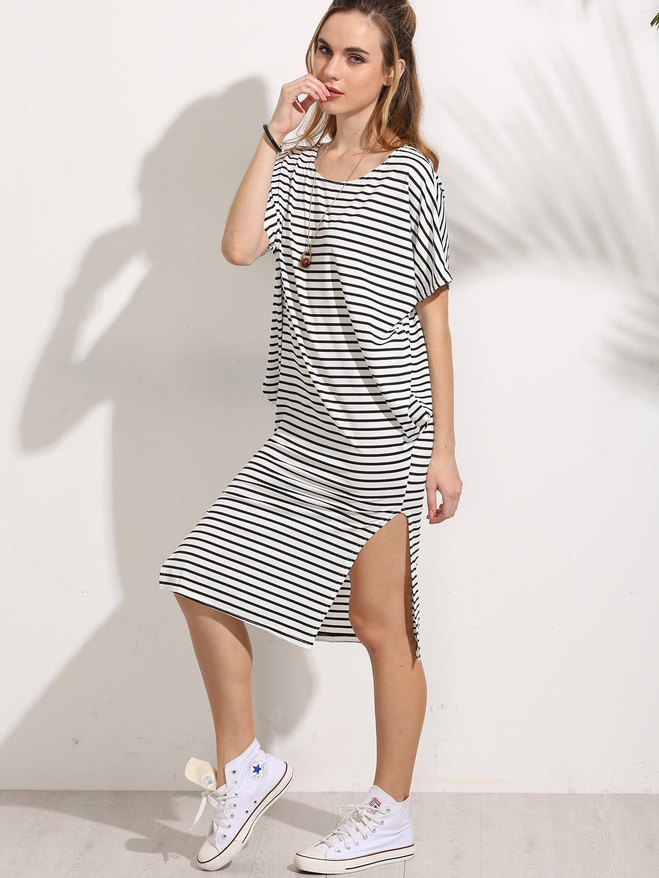 White Striped Side Slit Dress dress160704160