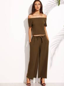 Olive Green Off The Shoulder Top With Wide Leg Pants