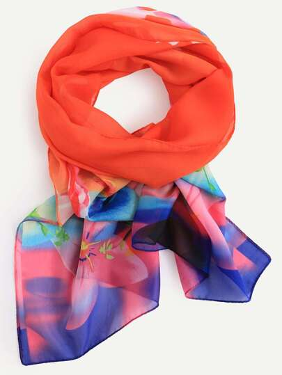 Orange Flower Print Chiffon Scarf