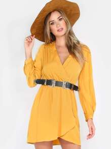 Surplice Long Sleeve Dress MUSTARD