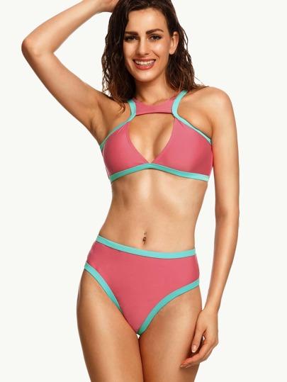 Cutout Color Block High Waist Bikini Set