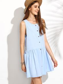 Blue Sleeveless Buttons Front Shift Dress