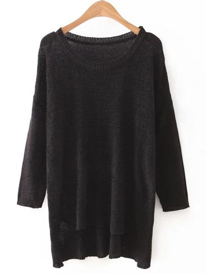 Black High Low Plain Knitwear