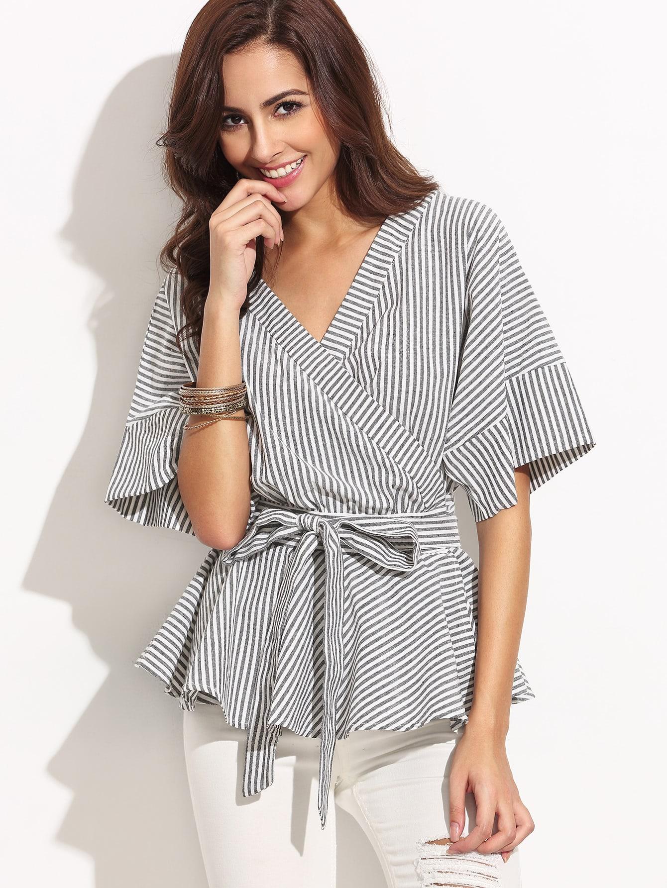 Купить Чёрно-белое полосатое платье с запахом с поясом, Giulia, SheIn