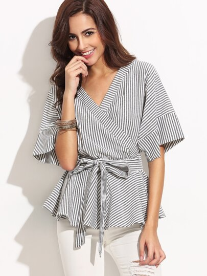 Self-tie Stripe Wrapped Peplum Blouse