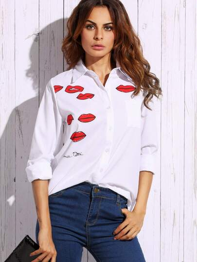 White Lip Print Blouse With Pocket