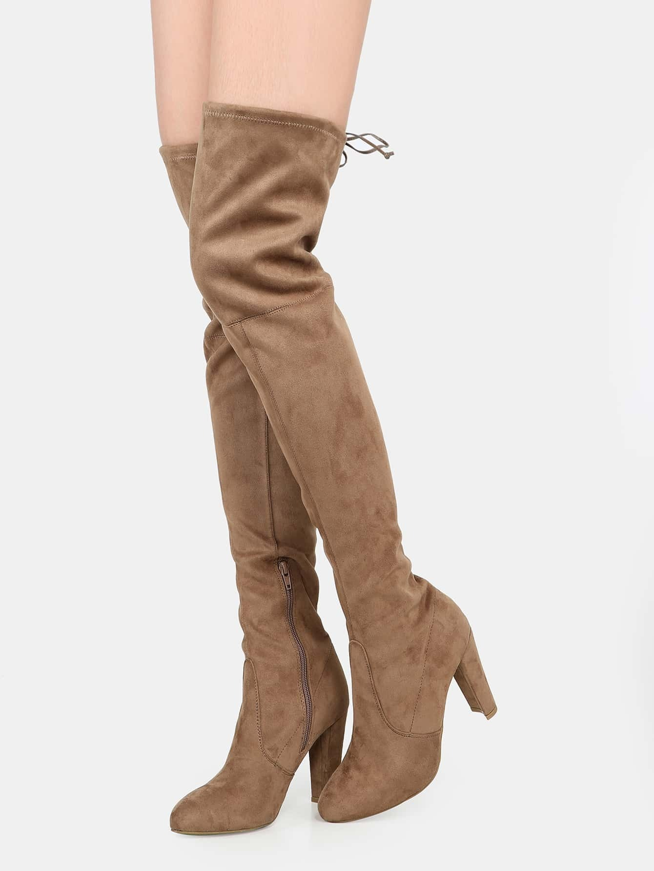 chunky heel faux suede thigh high boots taupe shein