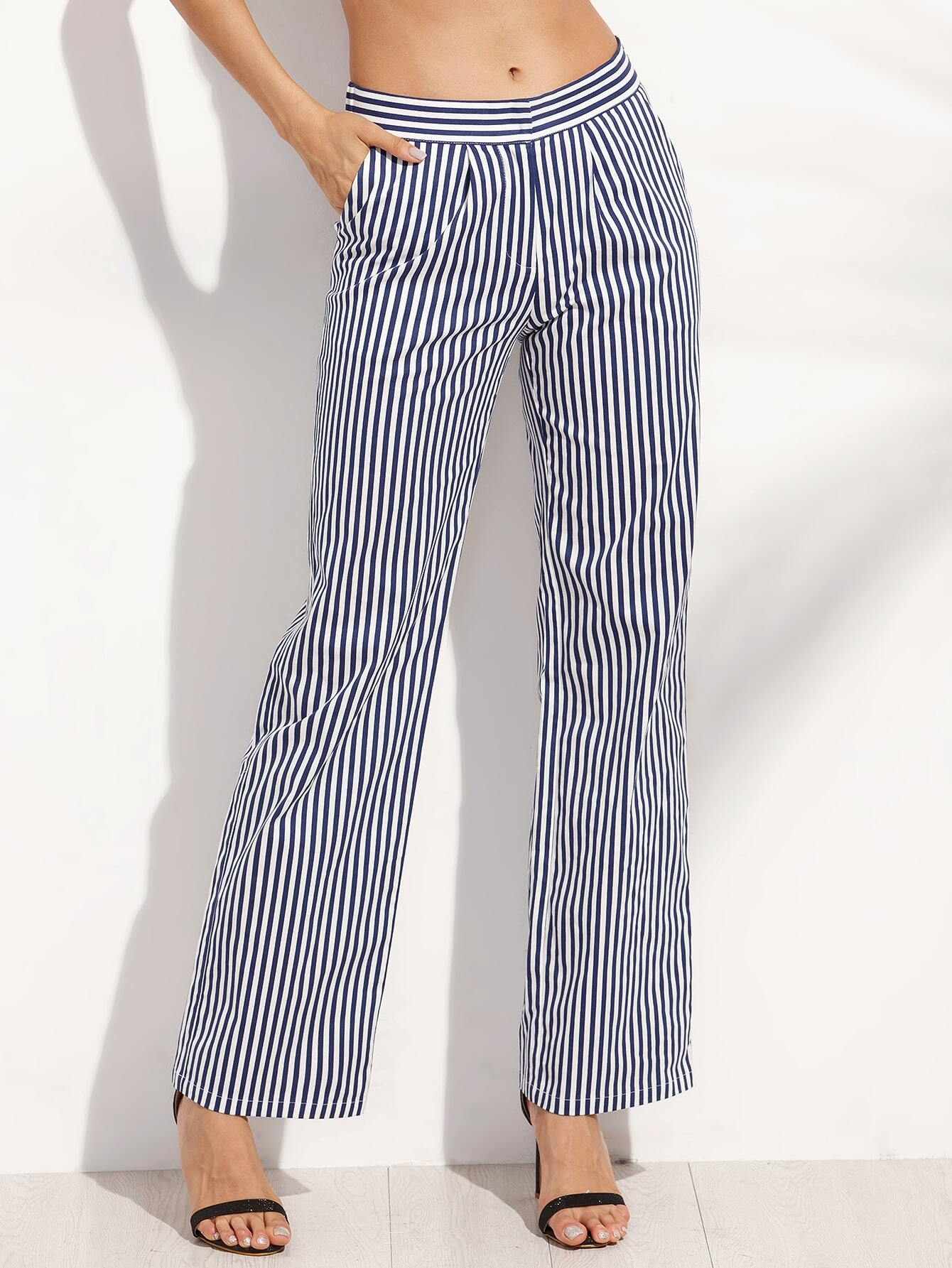 pantalons droits rayures verticales avec poches blanc et noir french shein sheinside. Black Bedroom Furniture Sets. Home Design Ideas