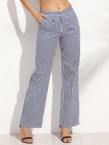 Vertical Striped Pockets Straight Long Pants