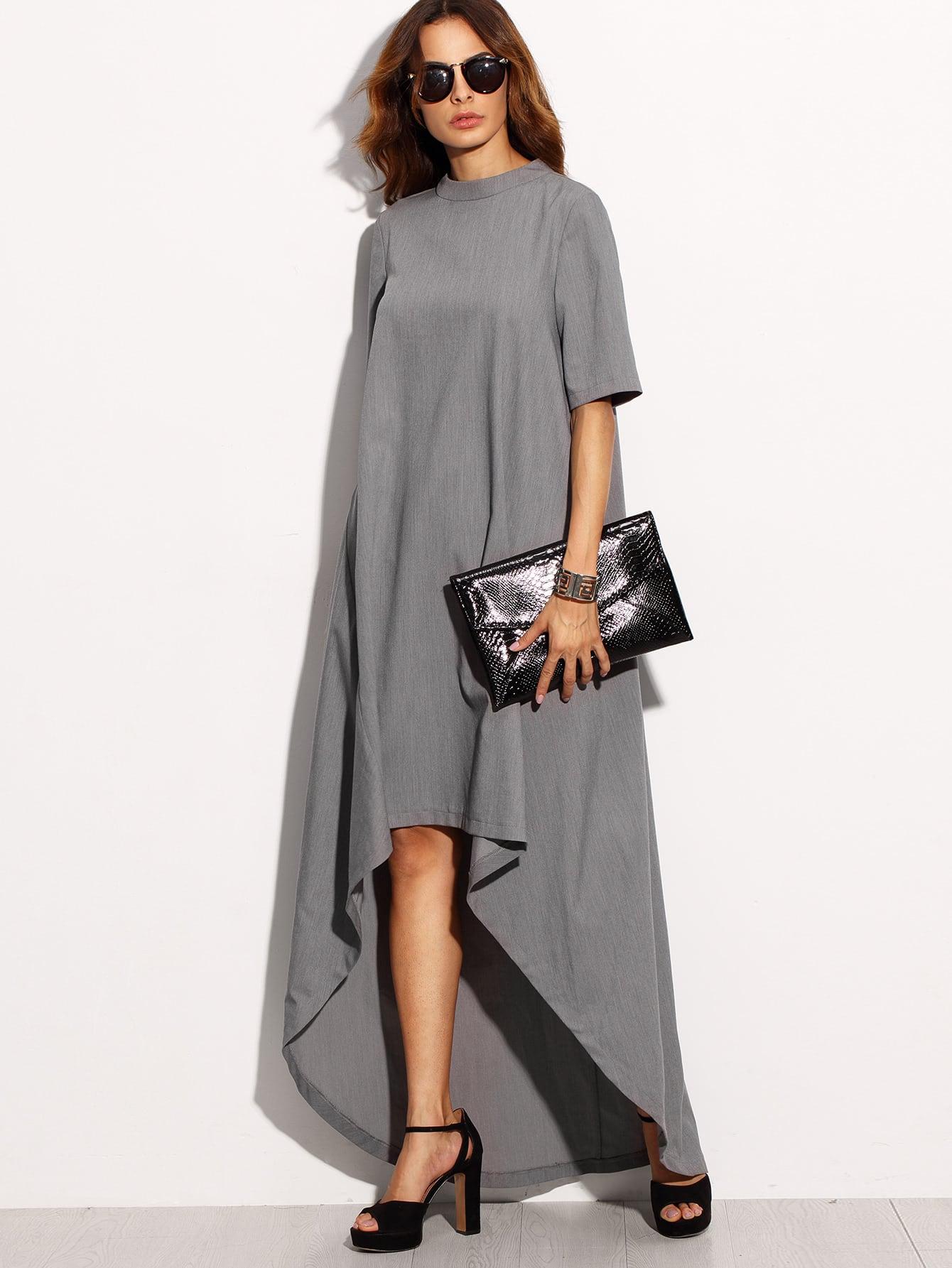 Фото Mock Neck Elbow Sleeve Dip Hem Dress. Купить с доставкой