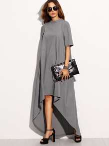 Grey High Neck Short Sleeve High Low Dress