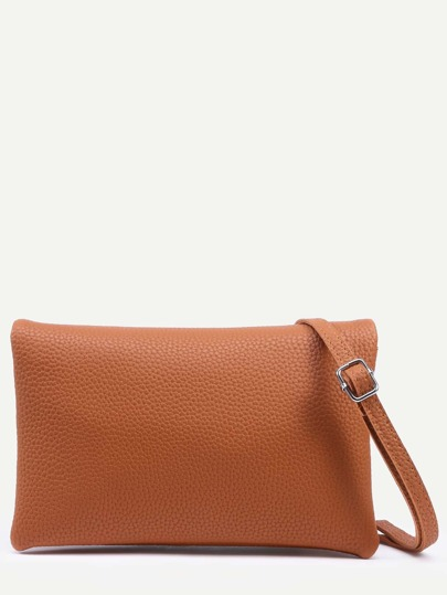 Camel Pebbled Faux Leather Multi Layer Fold Over Bag