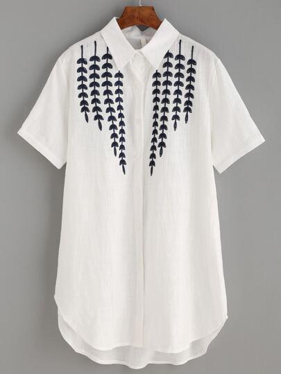 Beige Embroidered Short Sleeve Dip Hem Blouse