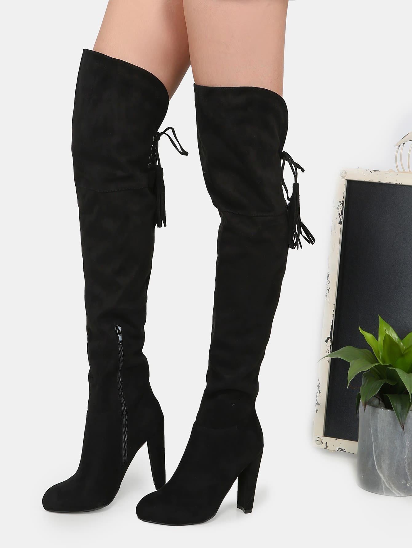 thigh high fringe suede boots black shein sheinside