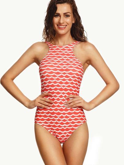 Orange Wave Print Racer Front One Piece Swimwear