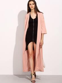 Pink Three Quarter Sleeve Long Outerwear with Belt